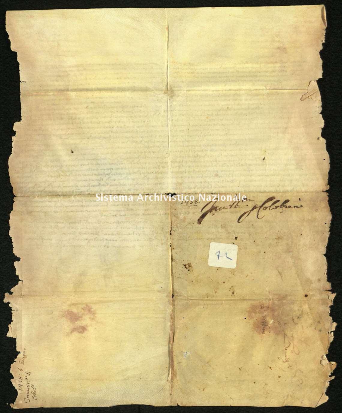 Archivio di Stato di Biella, Avogadro di Valdengo, Pergamene II, 8 febbraio 1458