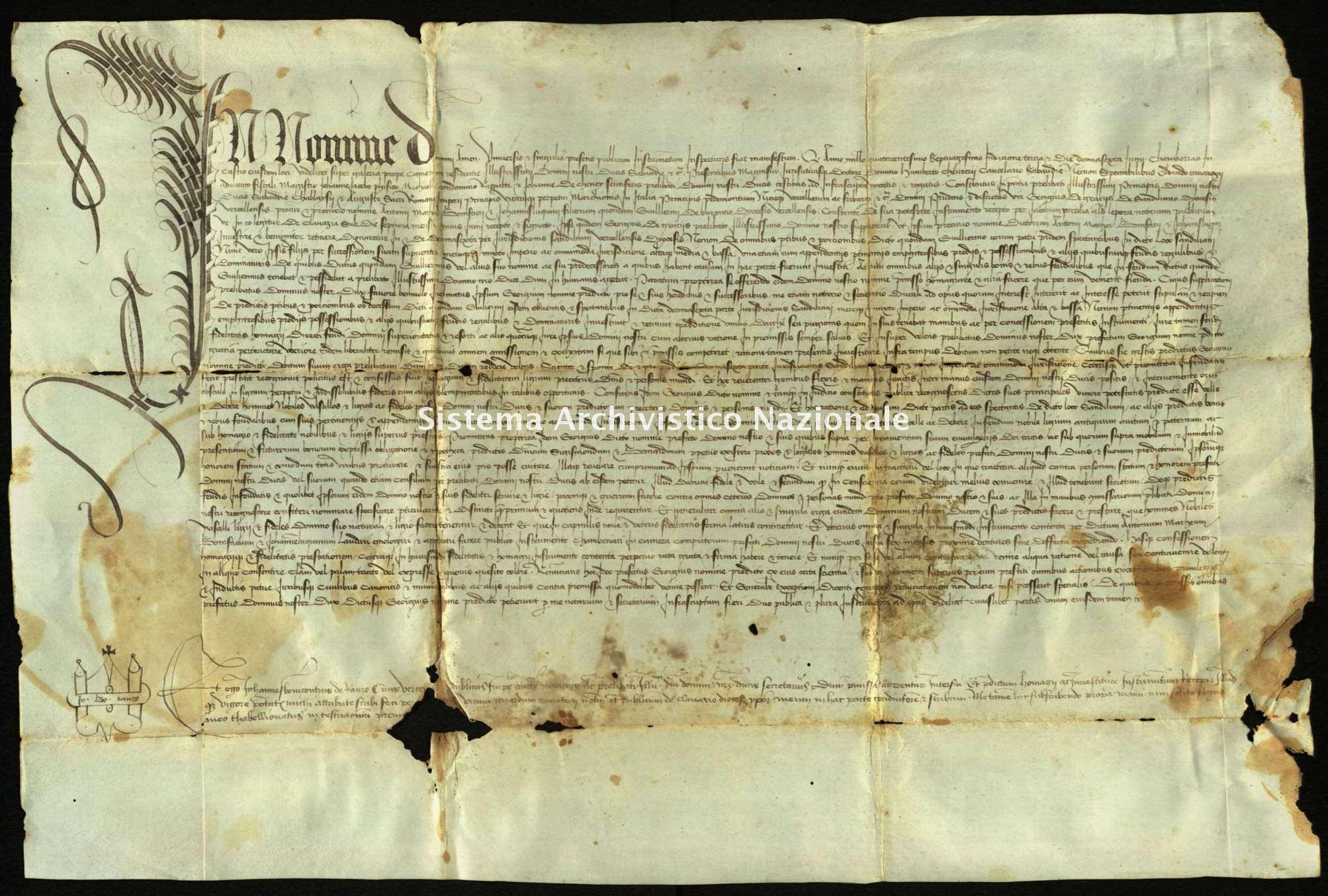 Archivio di Stato di Biella, Morra di Sandigliano, Pergamene, Chambery 16 giugno 1470