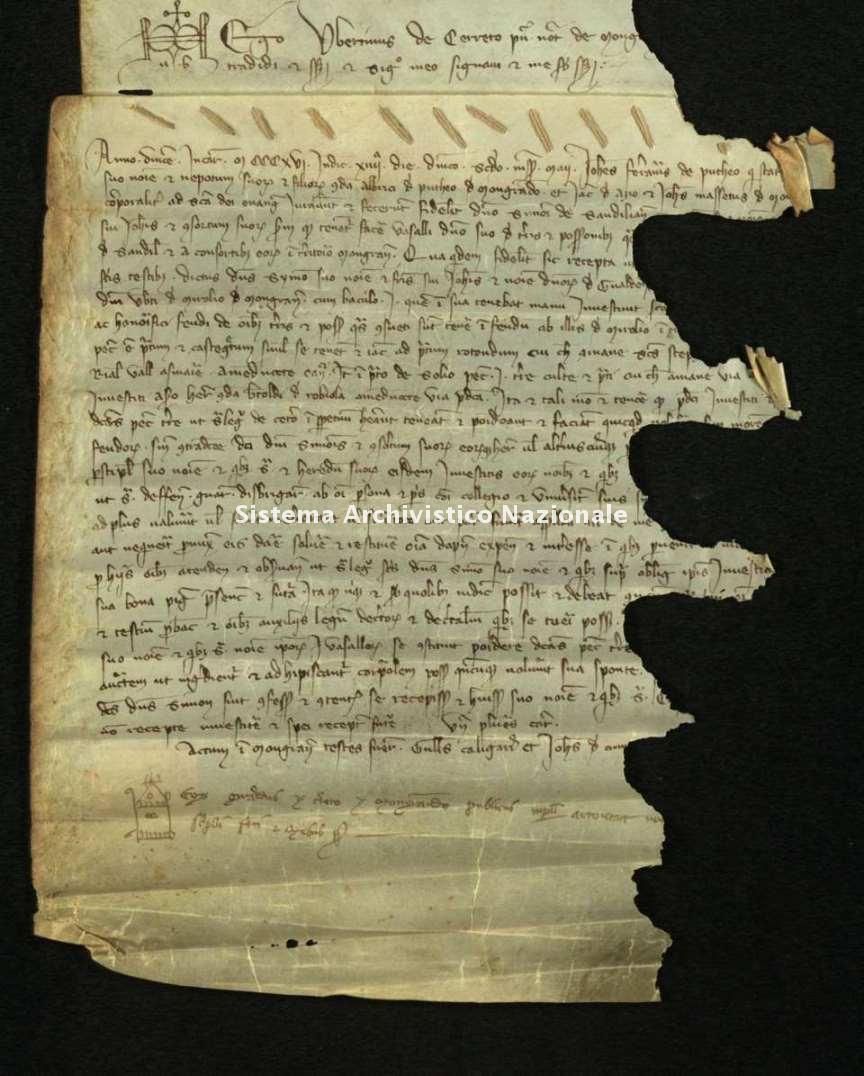 Archivio di Stato di Biella, Morra di Sandigliano, Pergamene, Mongrando 2 maggio 1316