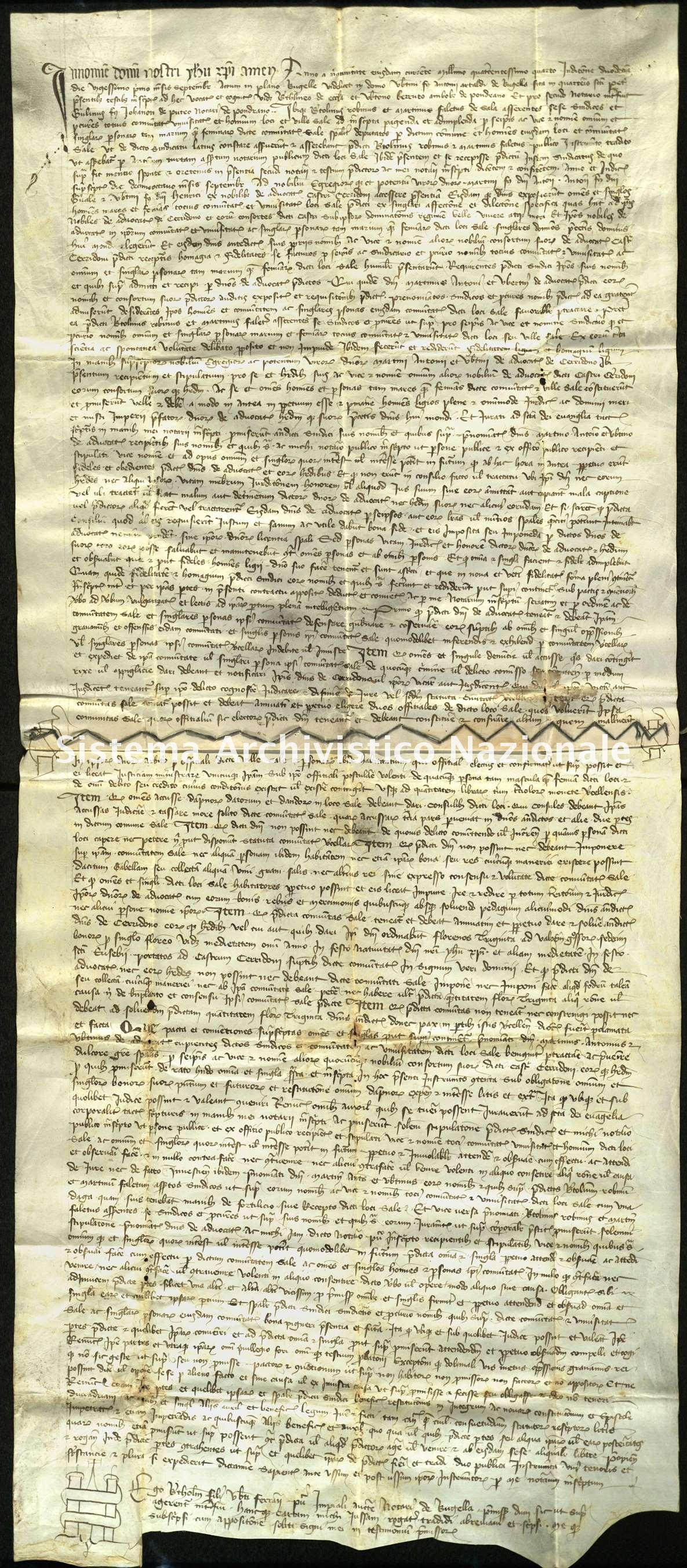Archivio di Stato di Biella, Avogadro di Valdengo, Pergamene, Pergamene I, Vintebbio, Biella, 21 settembre 1404