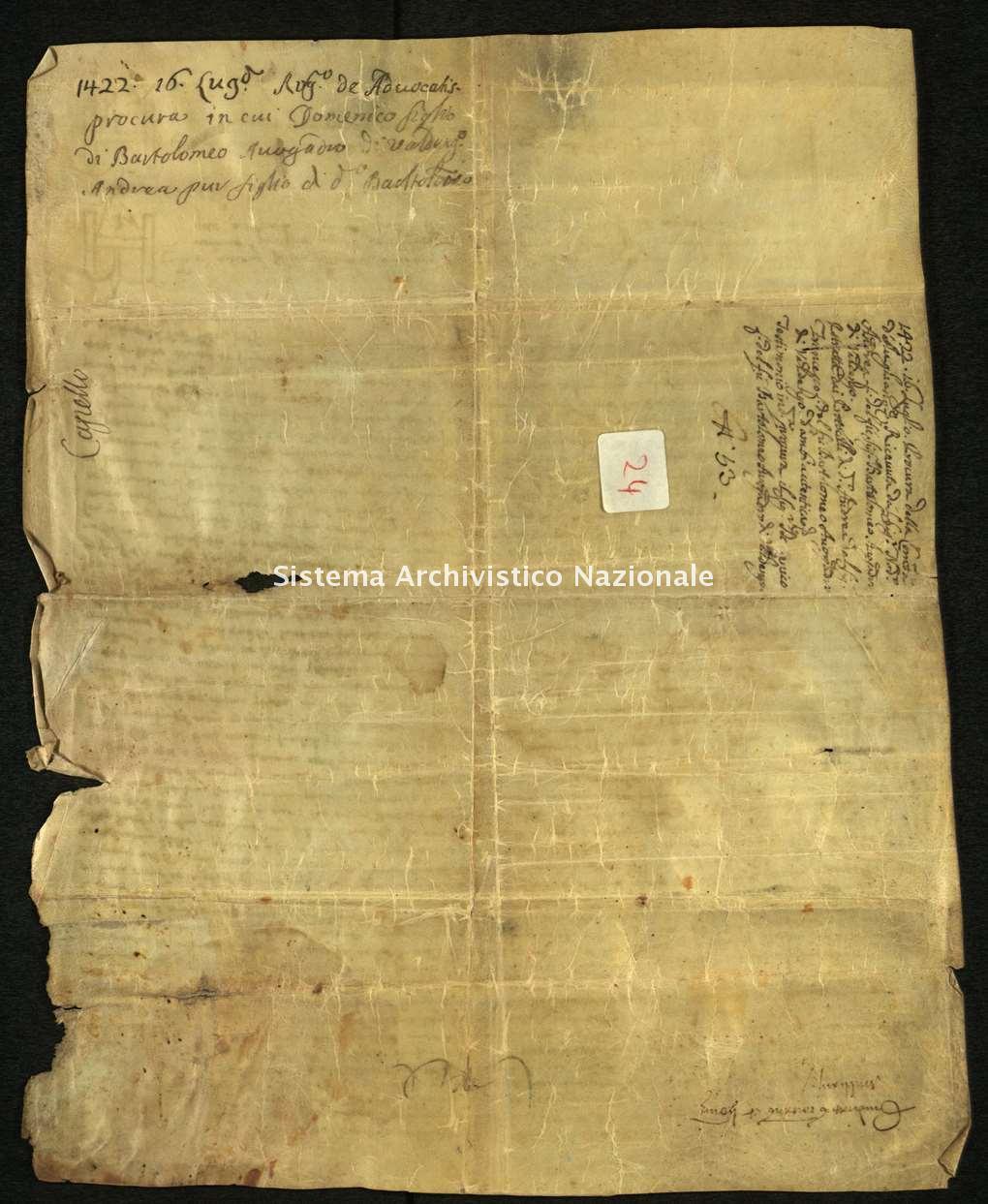 Archivio di Stato di Biella, Avogadro di Valdengo, Pergamene, Pergamene I, Vigliano, 16 luglio 1422