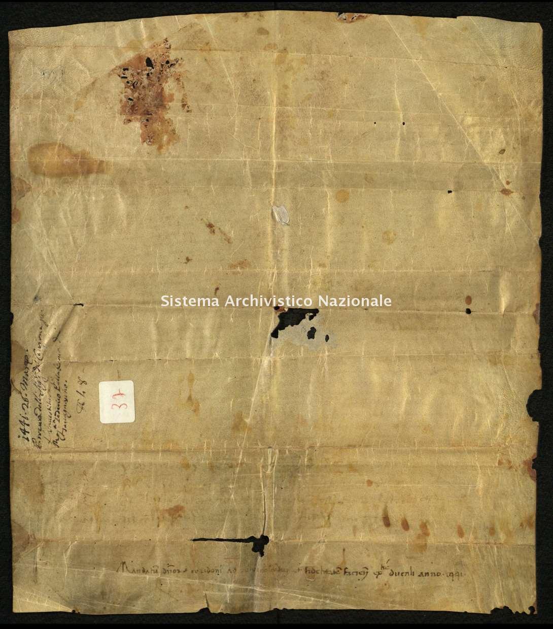 Archivio di Stato di Biella, Avogadro di Valdengo, Pergamene, Pergamene I, Cerrione, 26 marzo 1441