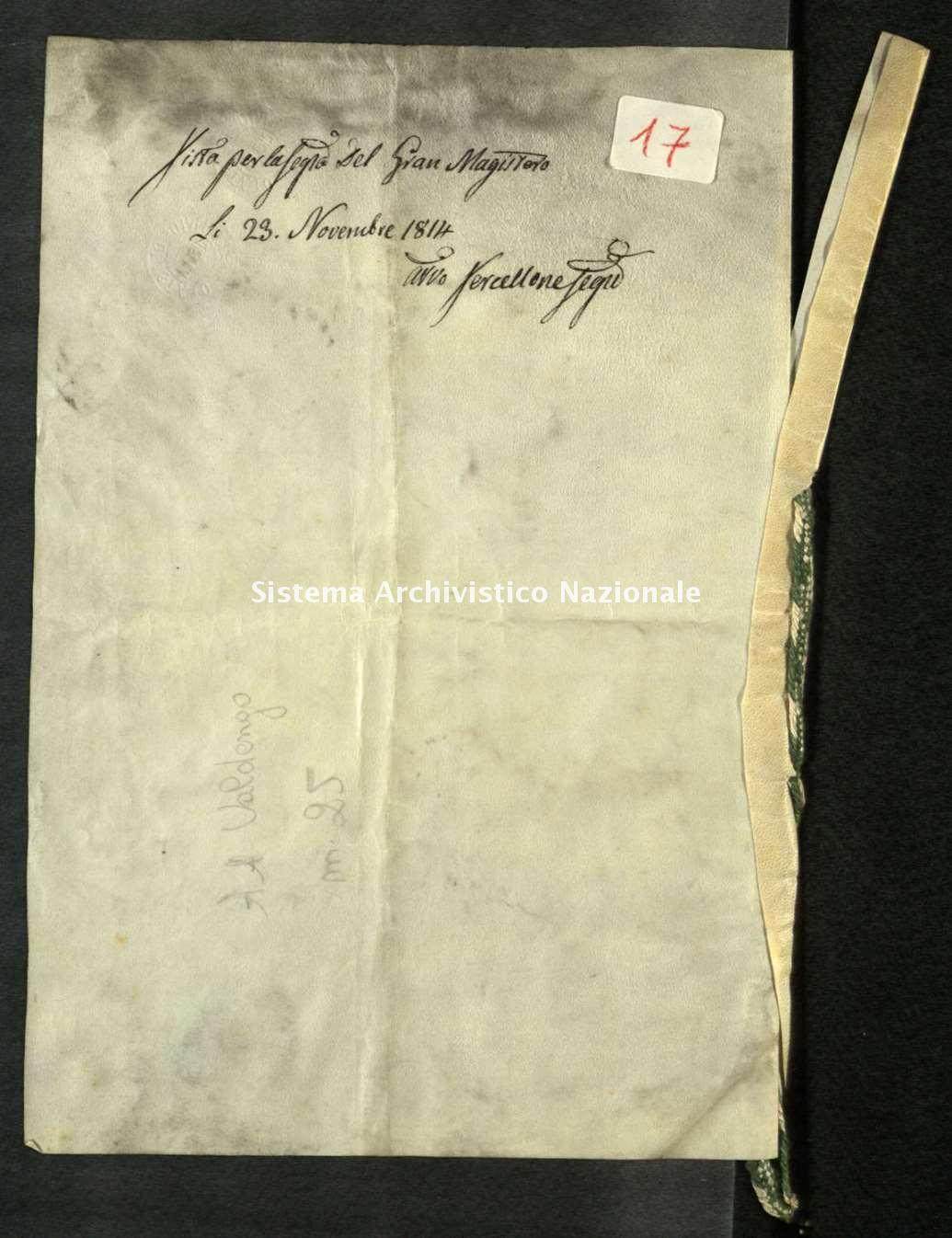 Archivio di Stato di Biella, Avogadro di Valdengo, Pergamene, Pergamene III, Firenze 01 giugno 1800