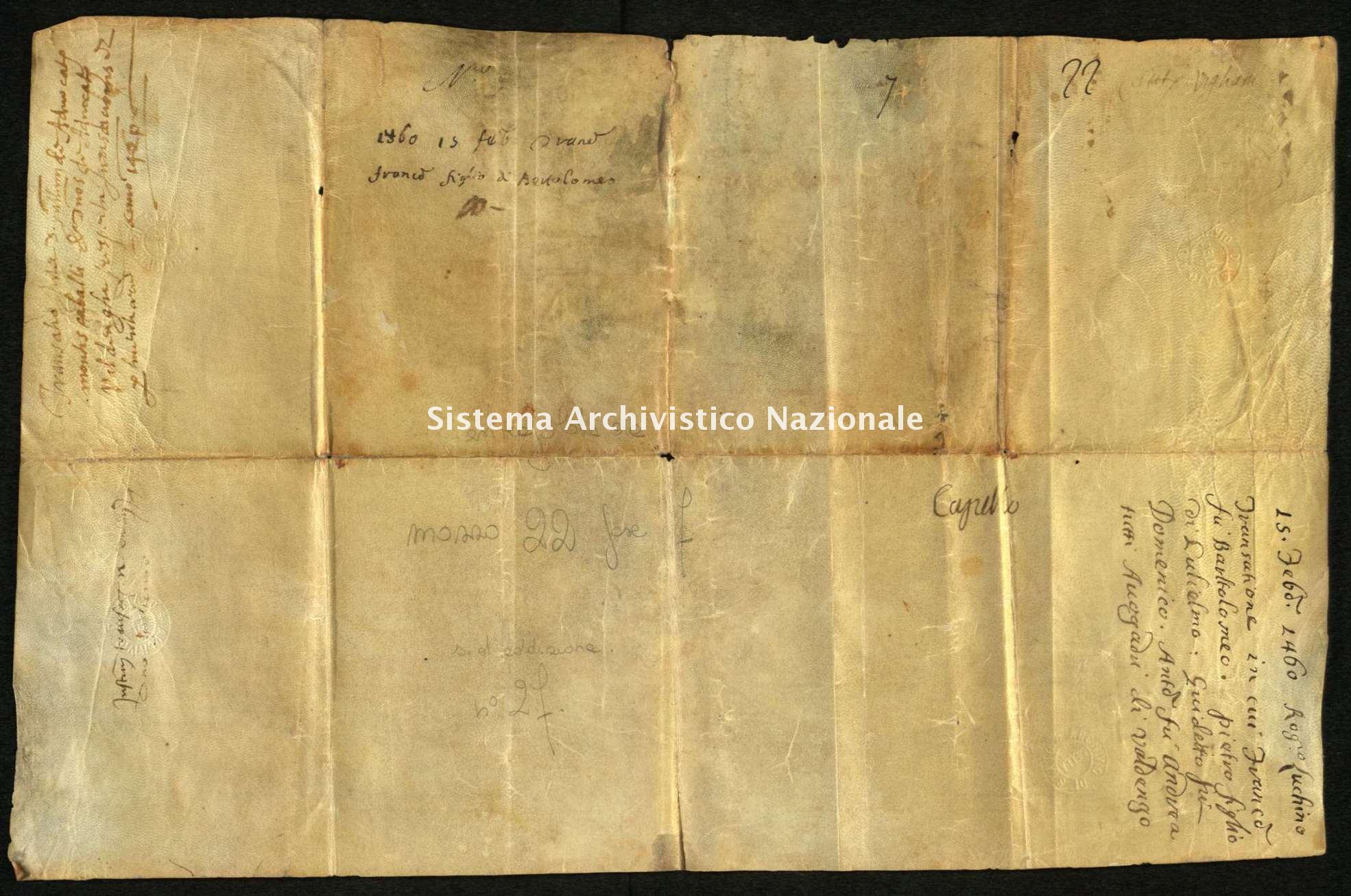 Archivio di Stato di Biella, Avogadro di Valdengo, Pergamene, Pergamene III, Valdengo 15 febbraio 1460