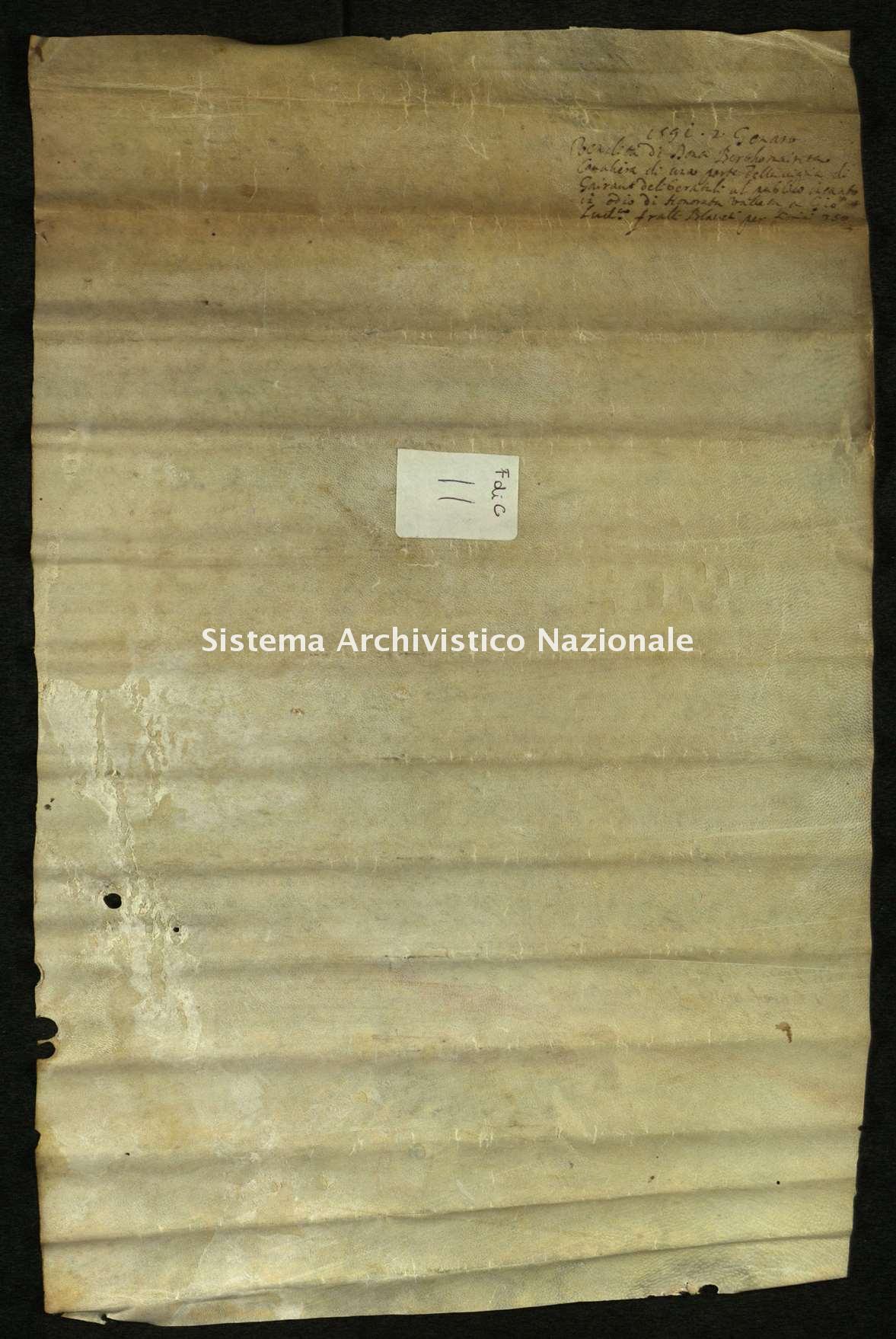 Archivio di Stato di Biella, Frichignono di Castellengo, Nizza 02 gennaio 1591