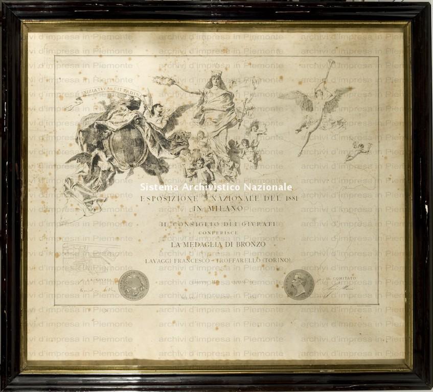 Lavaggi, diploma di medaglia di bronzo, 1881