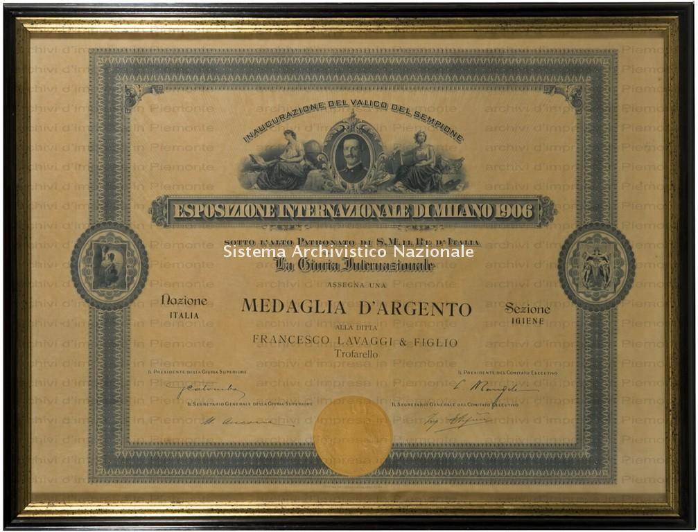 Lavaggi, diploma di medaglia d'argento, 1906