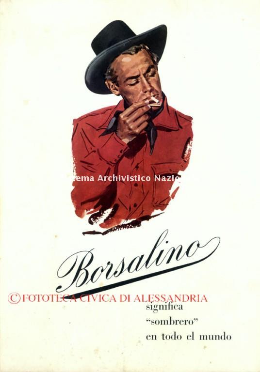 Borsalino, cartello pubblicitario da banco, sec. XX