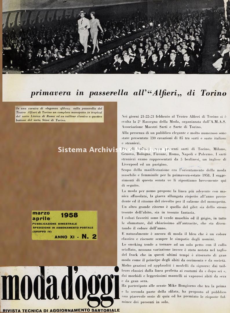 Primavera in passerella all'Alfieri di Torino, 1958