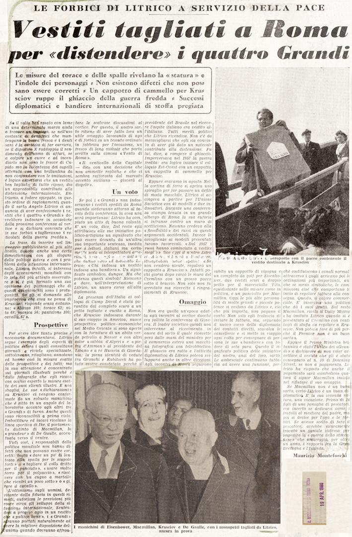 Le forbici di Litrico a servizio della pace, 1960