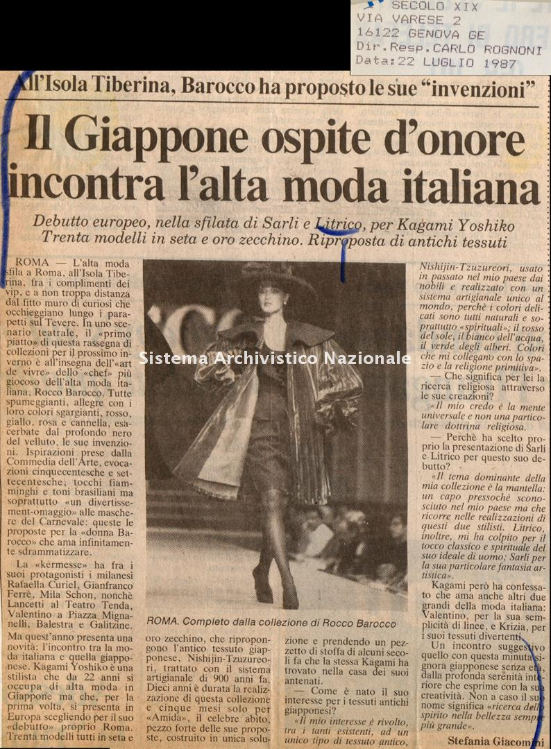 Il Giappone opsite d'onore incontra l'alta moda italiana, 1987