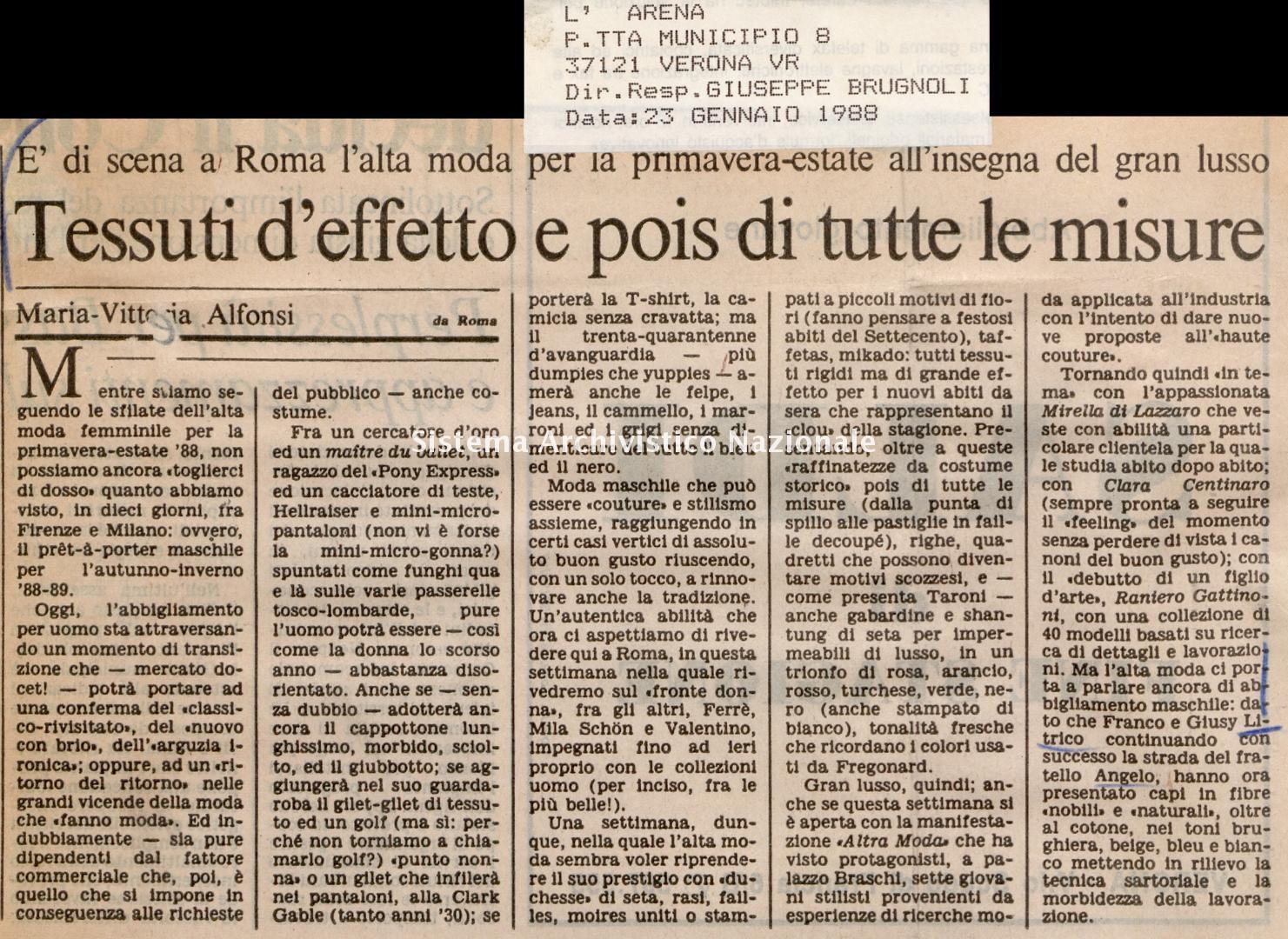 Tessuti d'effetto e pois di tutte le misure, 1988