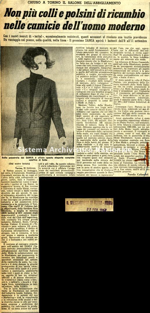 Non più colli e polsini di ricambio nelle camicie dell'uomo moderno, 1966
