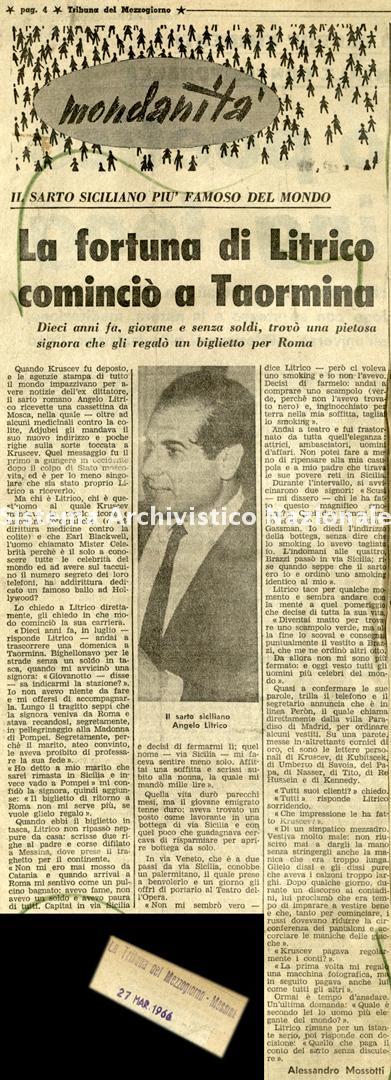 La fortuna di Litrico cominciò a Taormina, 1966