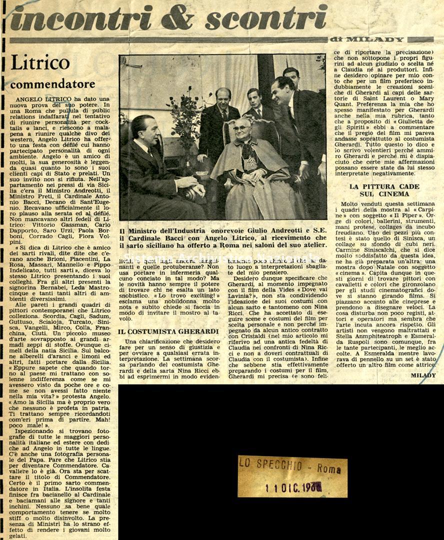Litrico commendatore, 1966