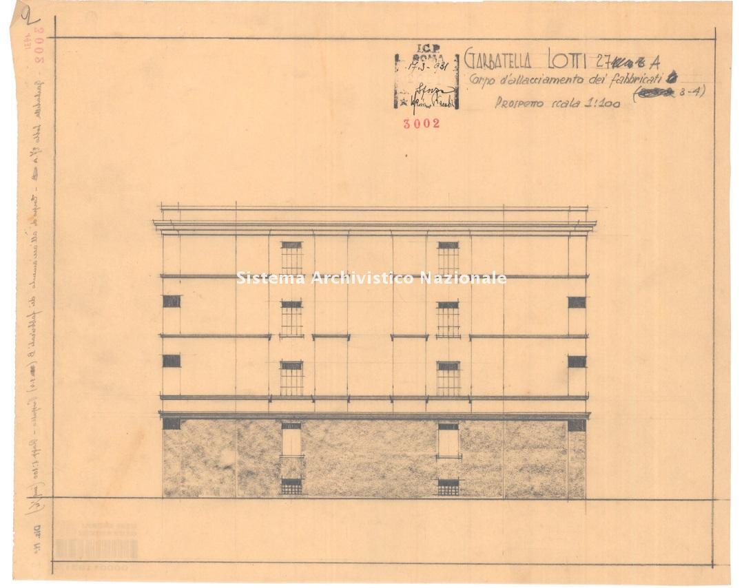 Massimo Piacentini, Quartiere IACCP Garbatella 4, lotto 27 a, fabbricati 1-5 in piazza Montecroce n. 4 e in via de Nobili n. 13, Roma 1931