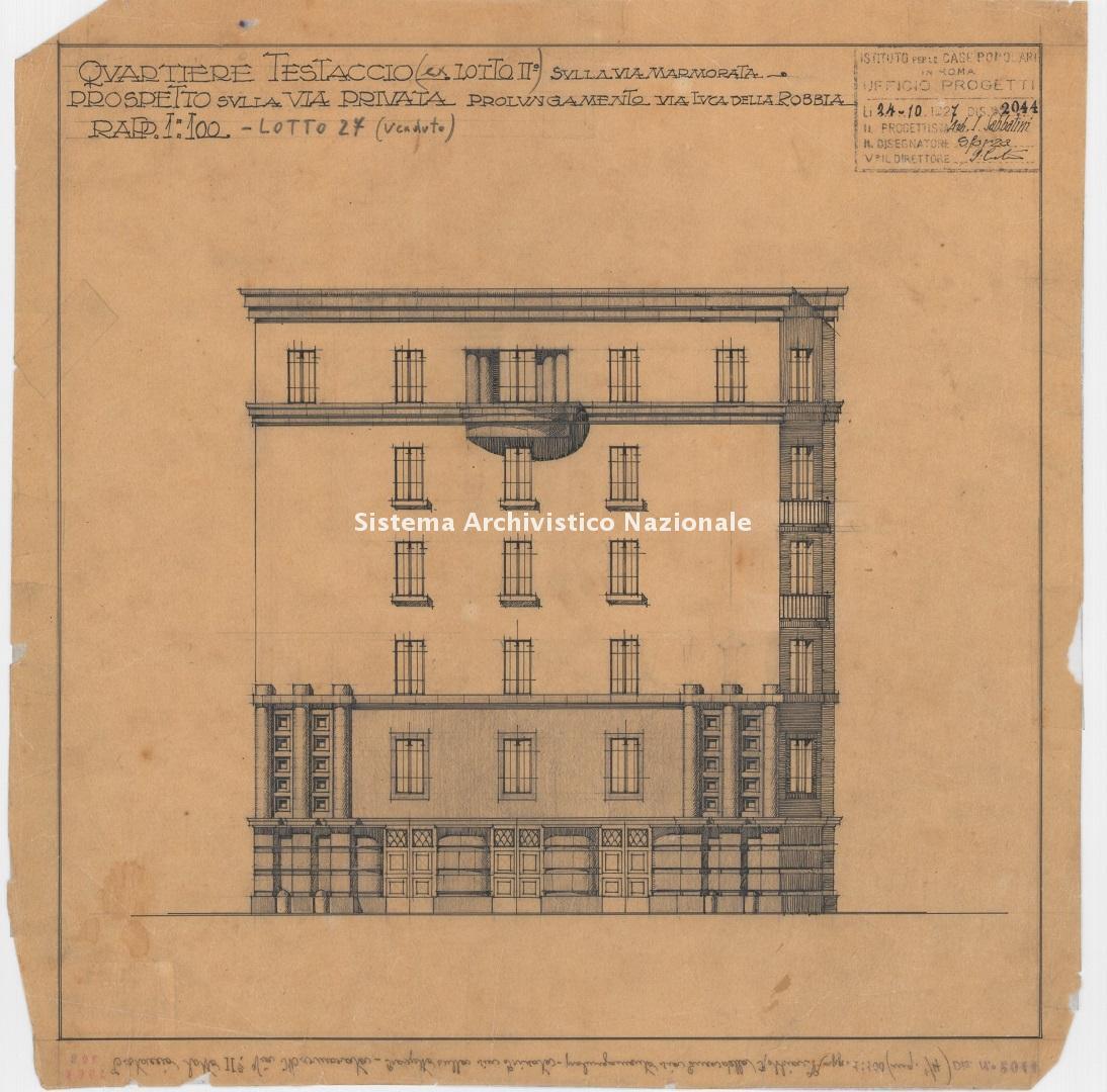 Innocenzo Sabbatini, Quartiere IACP Testaccio 4, fabbricati 26-27 in via Marmorata 131/157, via G. Branca e in via L. Vanvitelli, Roma 1927