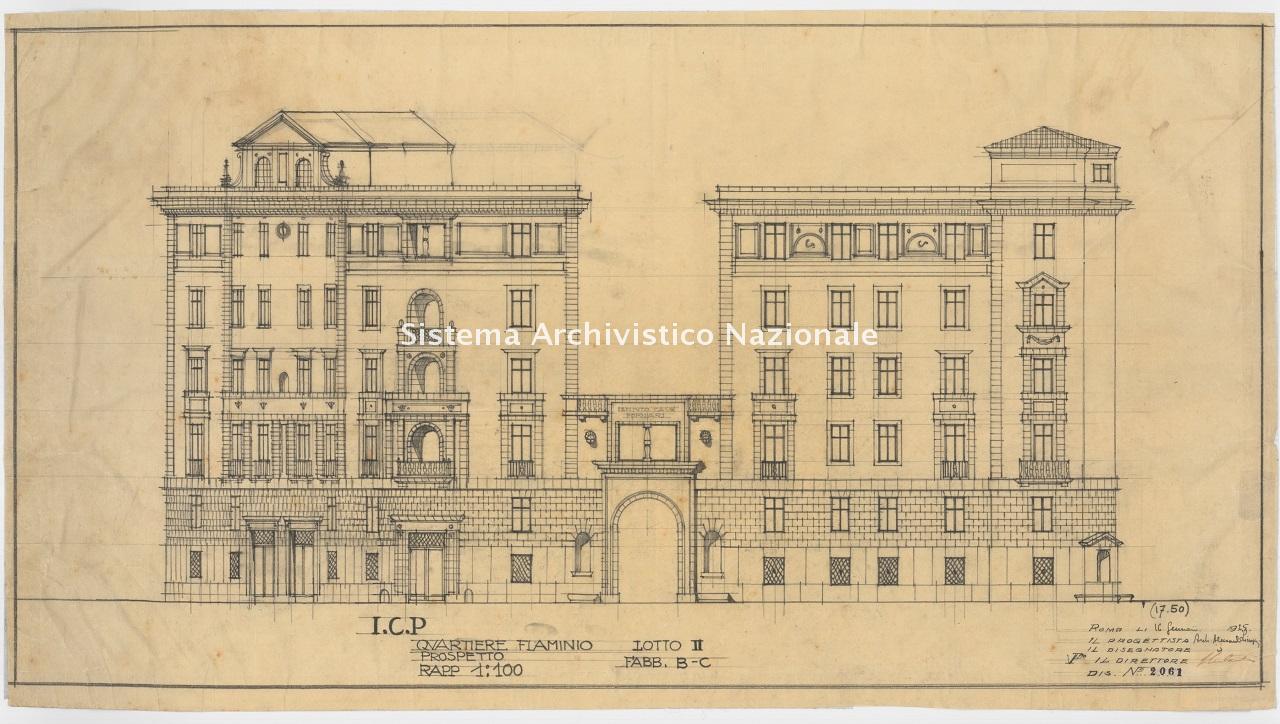 Alessandro Limongelli, Quartiere IACP Flaminio 2, lotto 2, fabbricati 1-4 in piazza M. da Forlì n. 4 e via V. Vespignani, Roma 1925