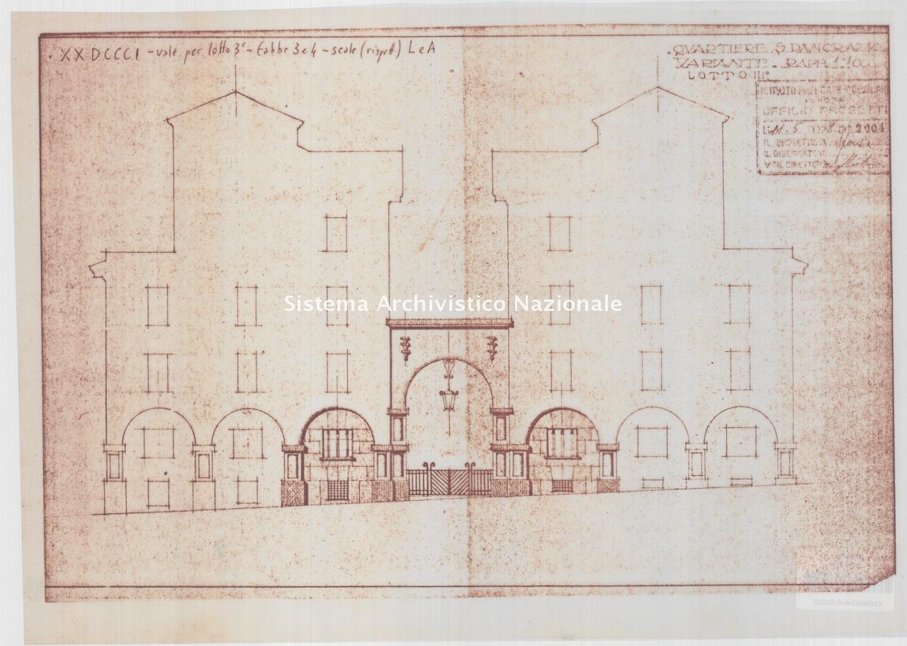 Pietro Sforza, Quartiere IACP San Pancrazio, lotti 2-3, fabbricati 1-11 in via A. via Algardi n. 8, viale dei Quattro Venti nn. 6-18, via B. Bricci, via F. Bolognesi e piazza Rosolino Pilo, Roma 1926-1928