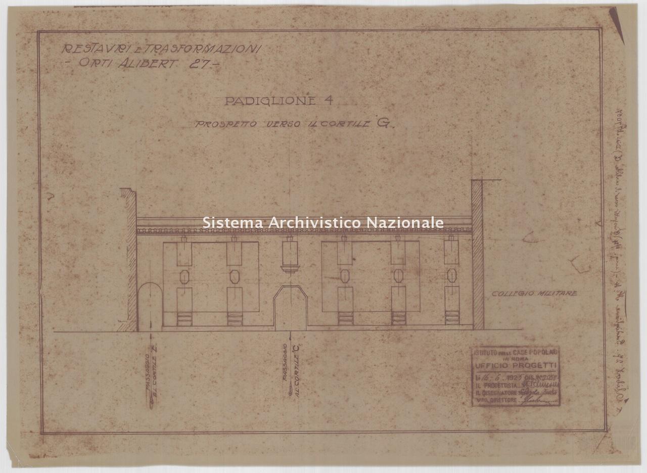 Ridenzoni, Quartiere IACP Trastevere, lotto 1, fabbricati 1-8 in via degli Orti d'Alibert nn. 27-29, Roma 1925