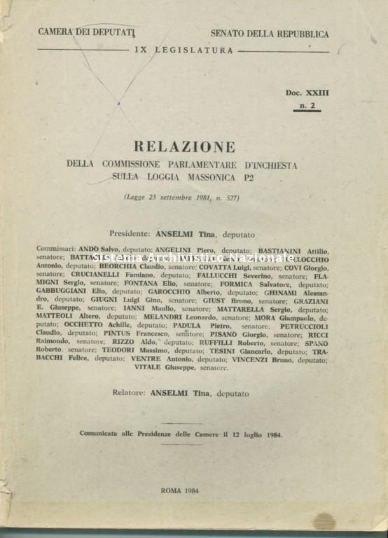 Commissione parlamentare d'inchiesta sulla Loggia massonica P2, 1984