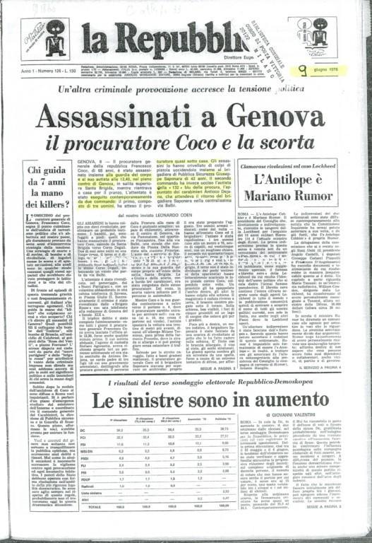 L'attentato a Francesco Coco, la Repubblica, 9 giugno 1976