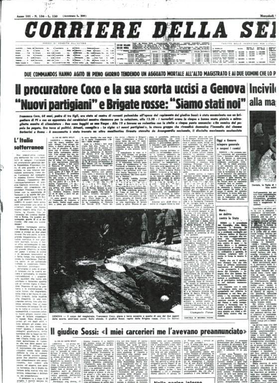 L'attentato a Francesco Coco, Corriere della Sera, 9 giugno 1976