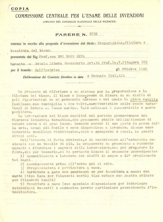 CNR, parere sul trattamento del bisso marino, Taranto 1941