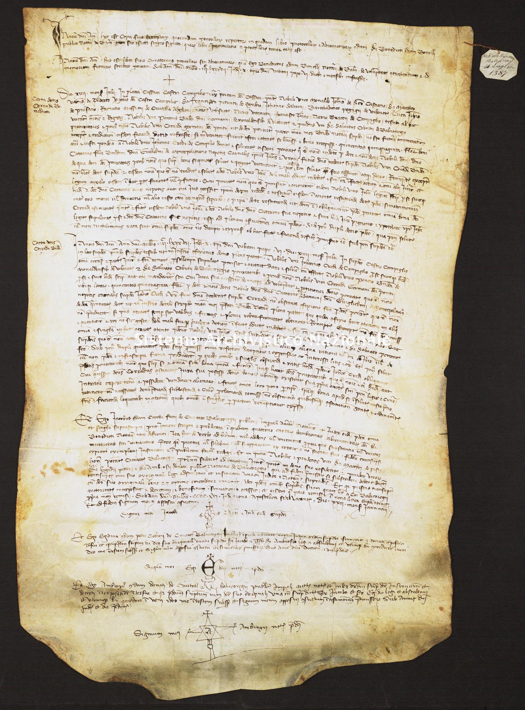 068. Archivio di Stato di SIENA, Diplomatico, Diplomatico Riformagioni Balzana, Pergamena 068 - 1387 luglio 14, casella 1109