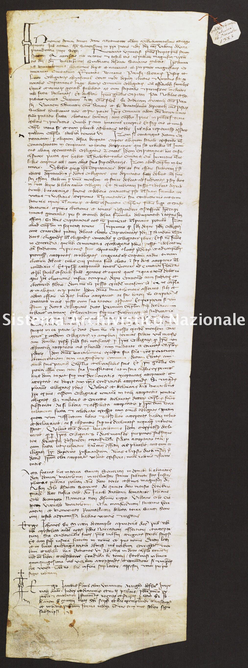 067. Archivio di Stato di SIENA, Diplomatico, Diplomatico Riformagioni Balzana, Pergamena 067 - 1385 dicembre 14, casella 1102