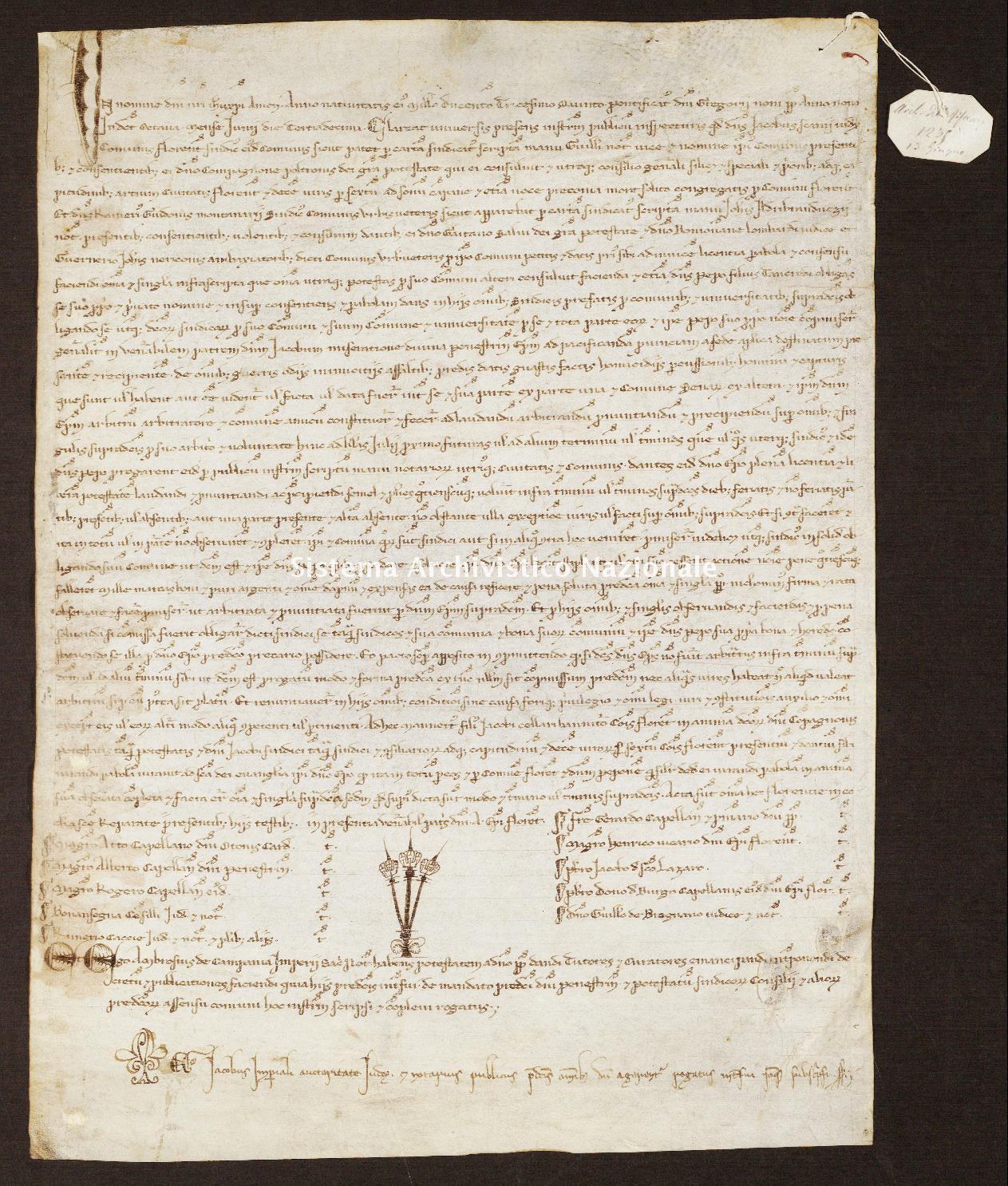 518. Archivio di Stato di SIENA, Diplomatico, Diplomatico Riformagioni, Pergamena 0520 - 1235 giugno 13, casella 59