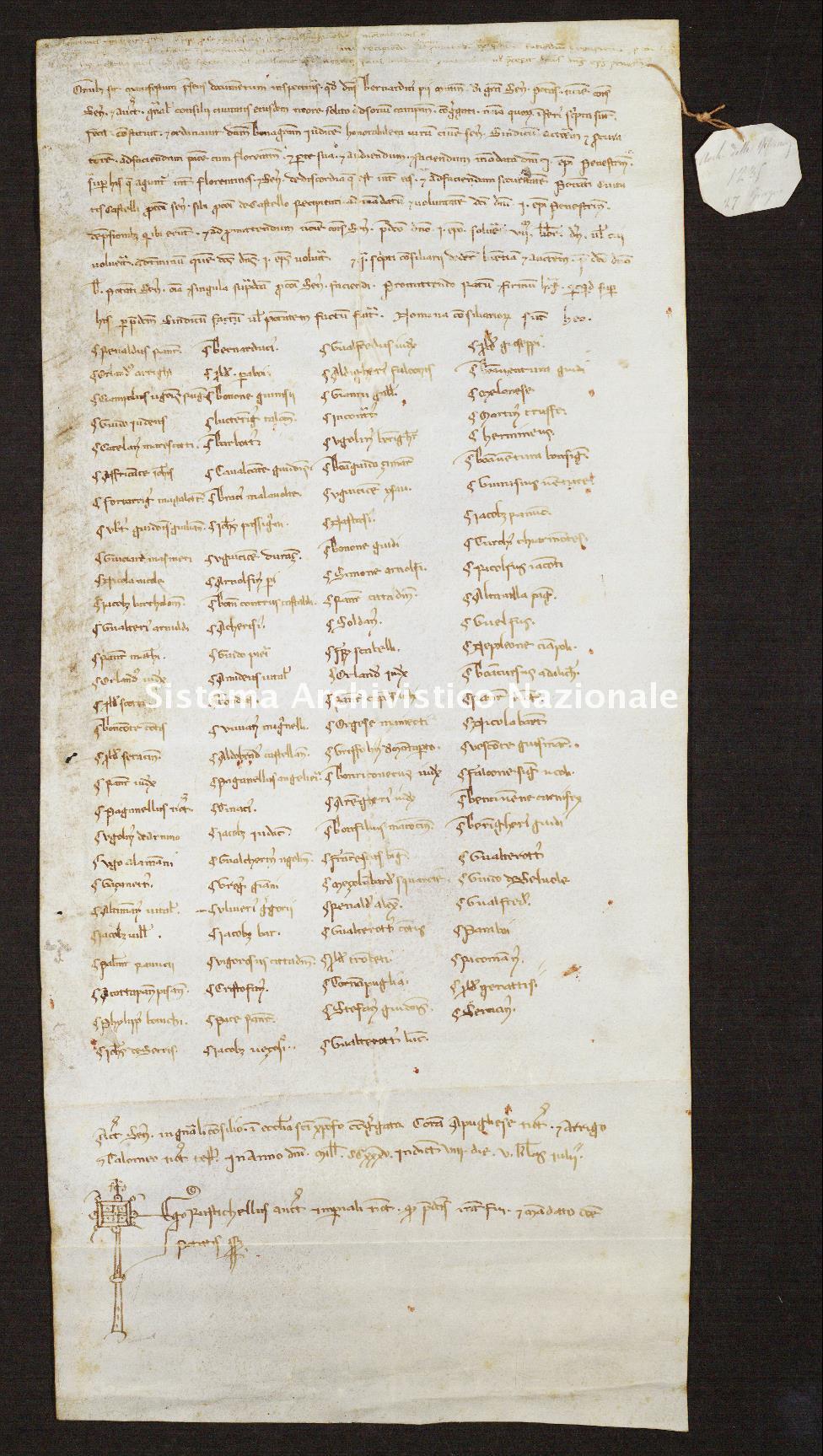 536. Archivio di Stato di SIENA, Diplomatico, Diplomatico Riformagioni, Pergamena 0538 - 1235 giugno 27, casella 59