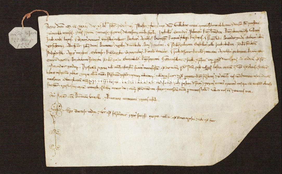 461. Archivio di Stato di SIENA, Diplomatico, Diplomatico Riformagioni, Pergamena 0463 - 1232 gennaio 22, casella 56