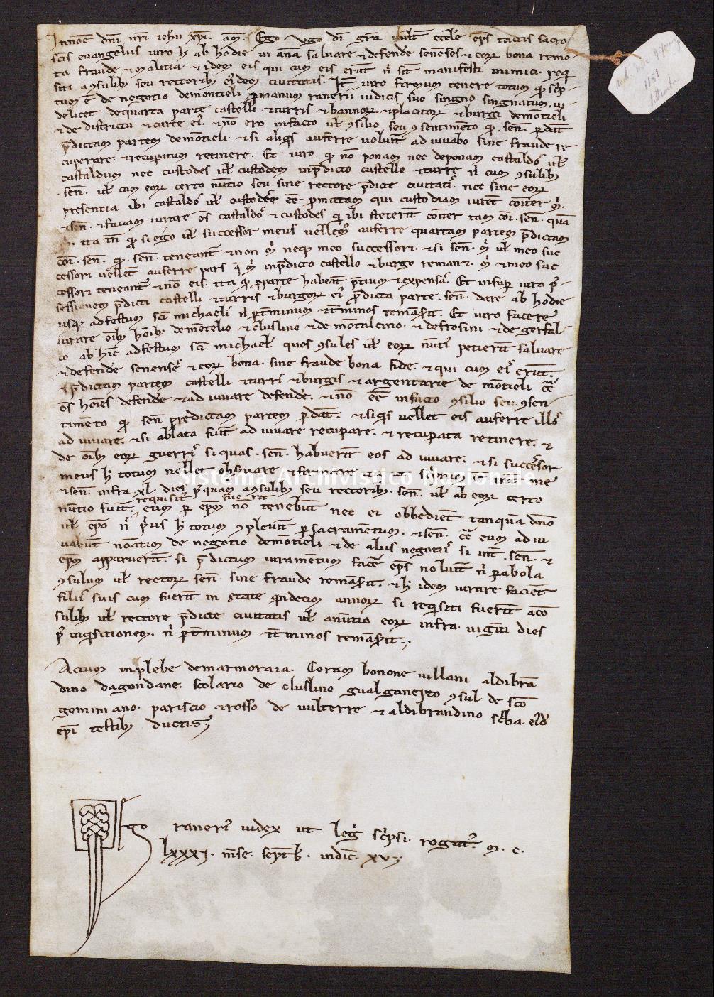 068. Archivio di Stato di SIENA, Diplomatico, Diplomatico Riformagioni, Pergamena 0068 - 1181 settembre, casella 22