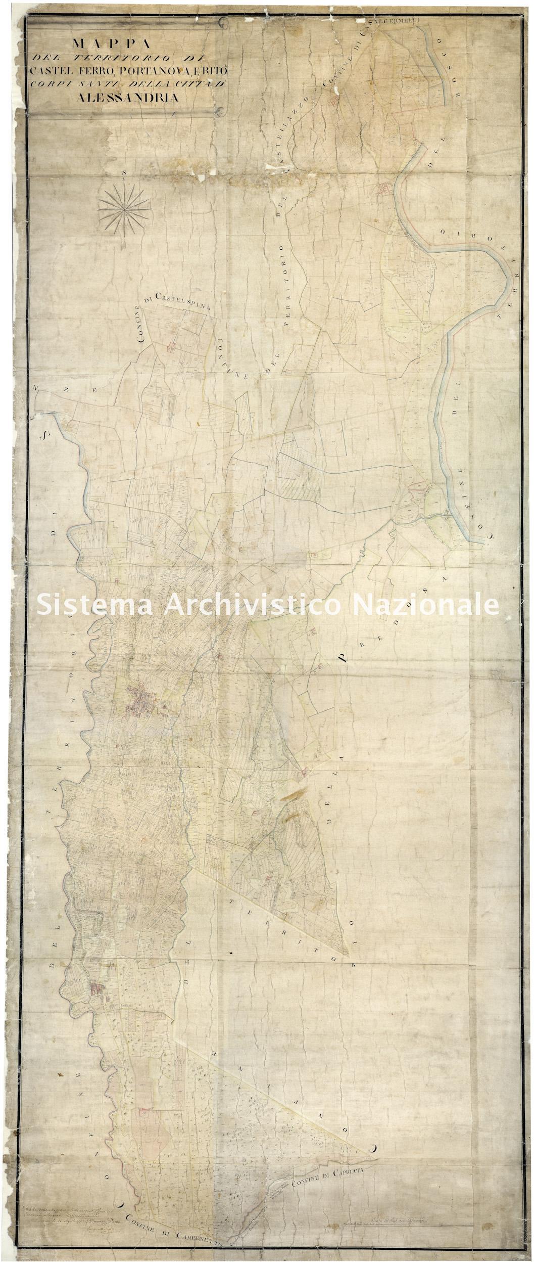 Archivio di Stato di Alessandria, Comune di Alessandria, Serie III, Catasto sabaudo, Mappe, Castelferro, Portanova, Retorto,