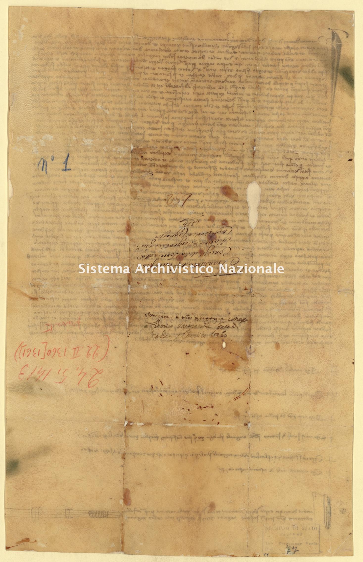 Archivio di Stato di Palermo, Diplomatico, Pergamene di diversa provenienza (già Pergamene varie 1-178, 243-259), Serie I, Pergamena PDP 013.13 (PVa 77)