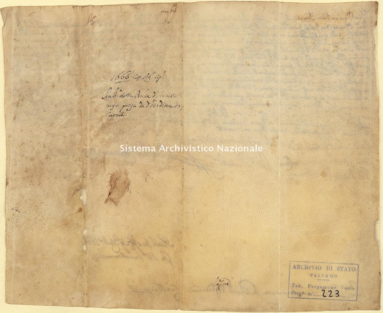 Archivio di Stato di Palermo, Diplomatico, Pergamene Landolina (già Pergamene varie 211-242), Pergamena PL 13 (PVa 223)