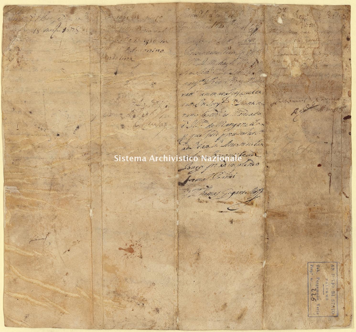 Archivio di Stato di Palermo, Diplomatico, Pergamene Landolina (già Pergamene varie 211-242), Pergamena PL 16 (PVa 226)