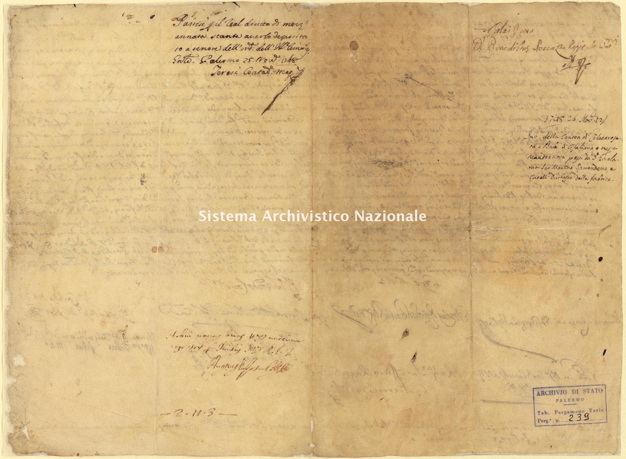 Archivio di Stato di Palermo, Diplomatico, Pergamene Landolina (già Pergamene varie 211-242), Pergamena PL 29 (PVa 239)