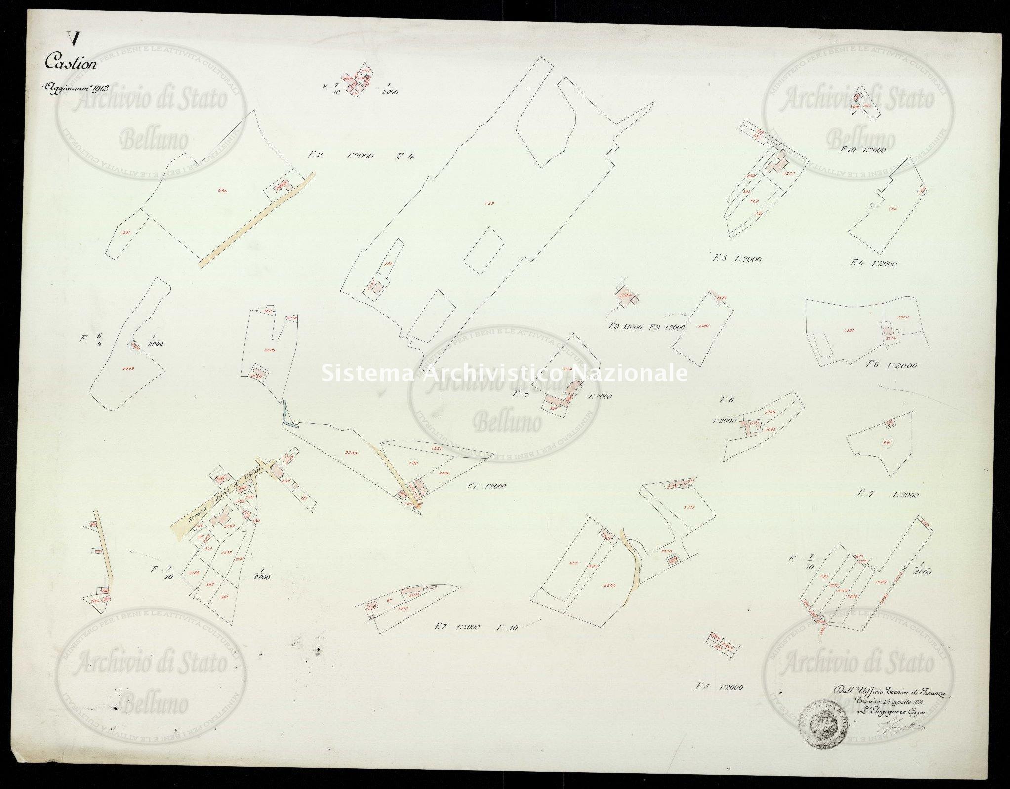 Archivio di Stato di Belluno, Censo stabile attivato, Mappe, Mappe I conservazione, Comune censuario 006 Castion