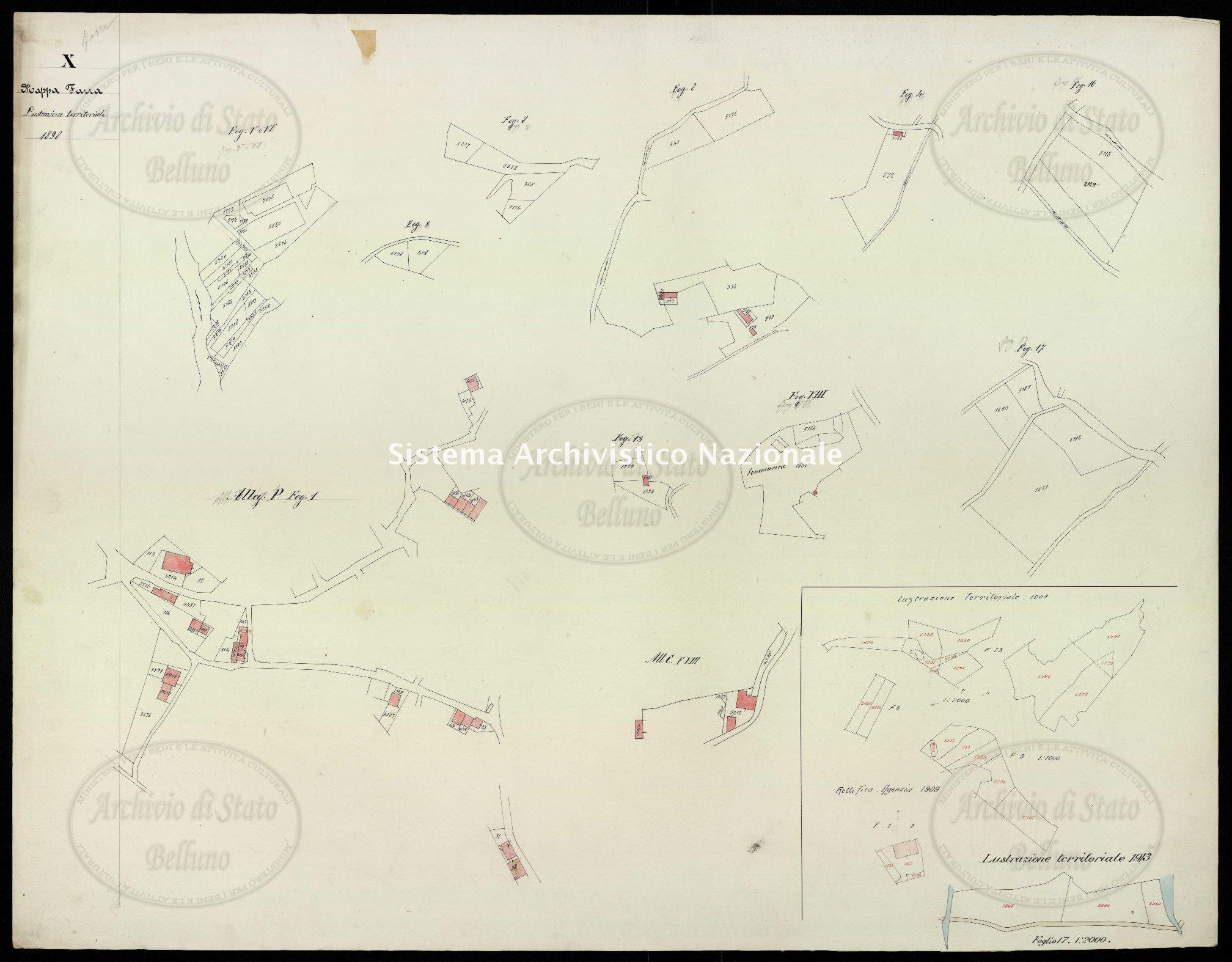 Archivio di Stato di Belluno, Censo stabile attivato, Mappe, Mappe I conservazione, Comune censuario 035 Farra d'Alpago