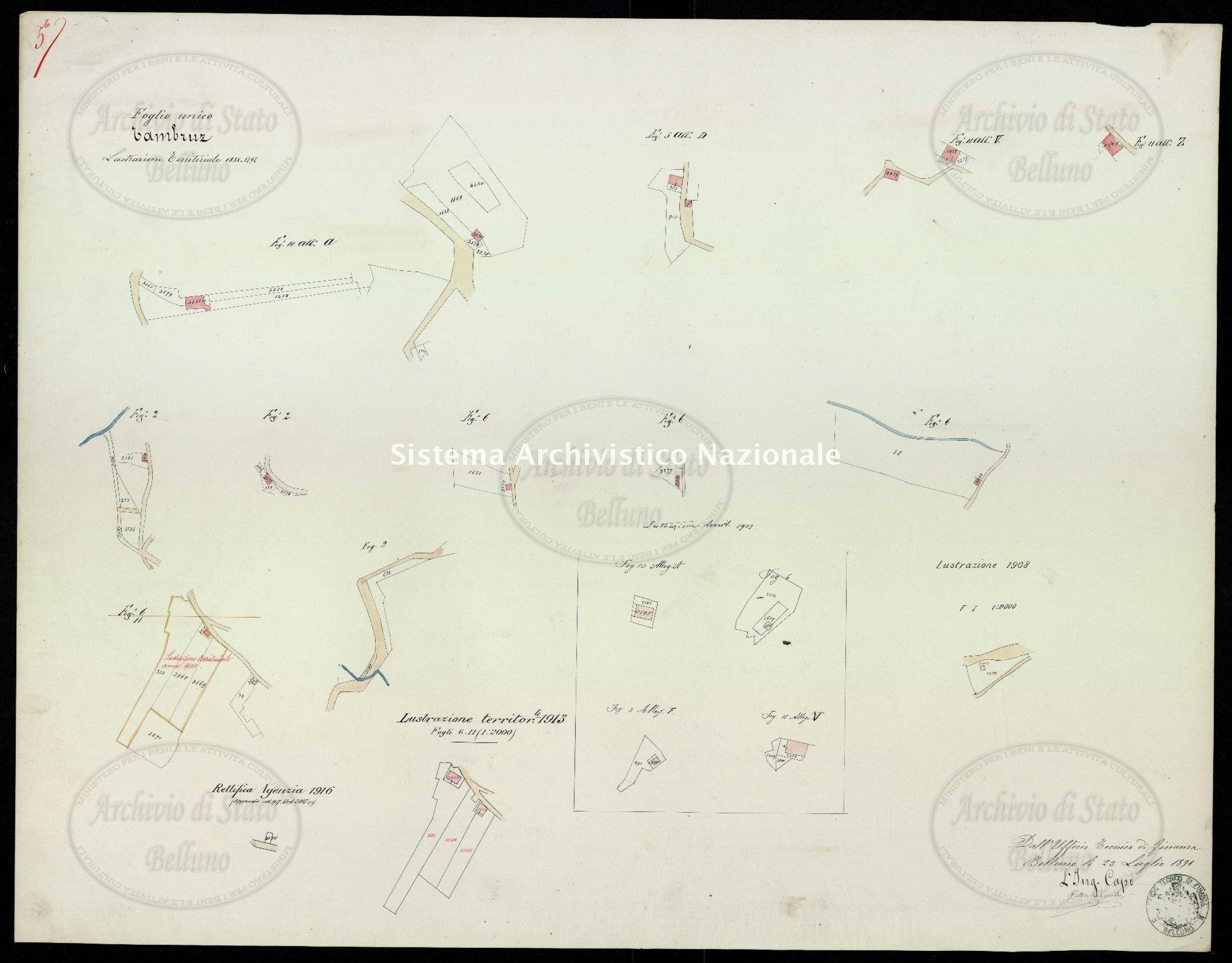 Archivio di Stato di Belluno, Censo stabile attivato, Mappe, Mappe I conservazione, Comune censuario 062 Tambruz