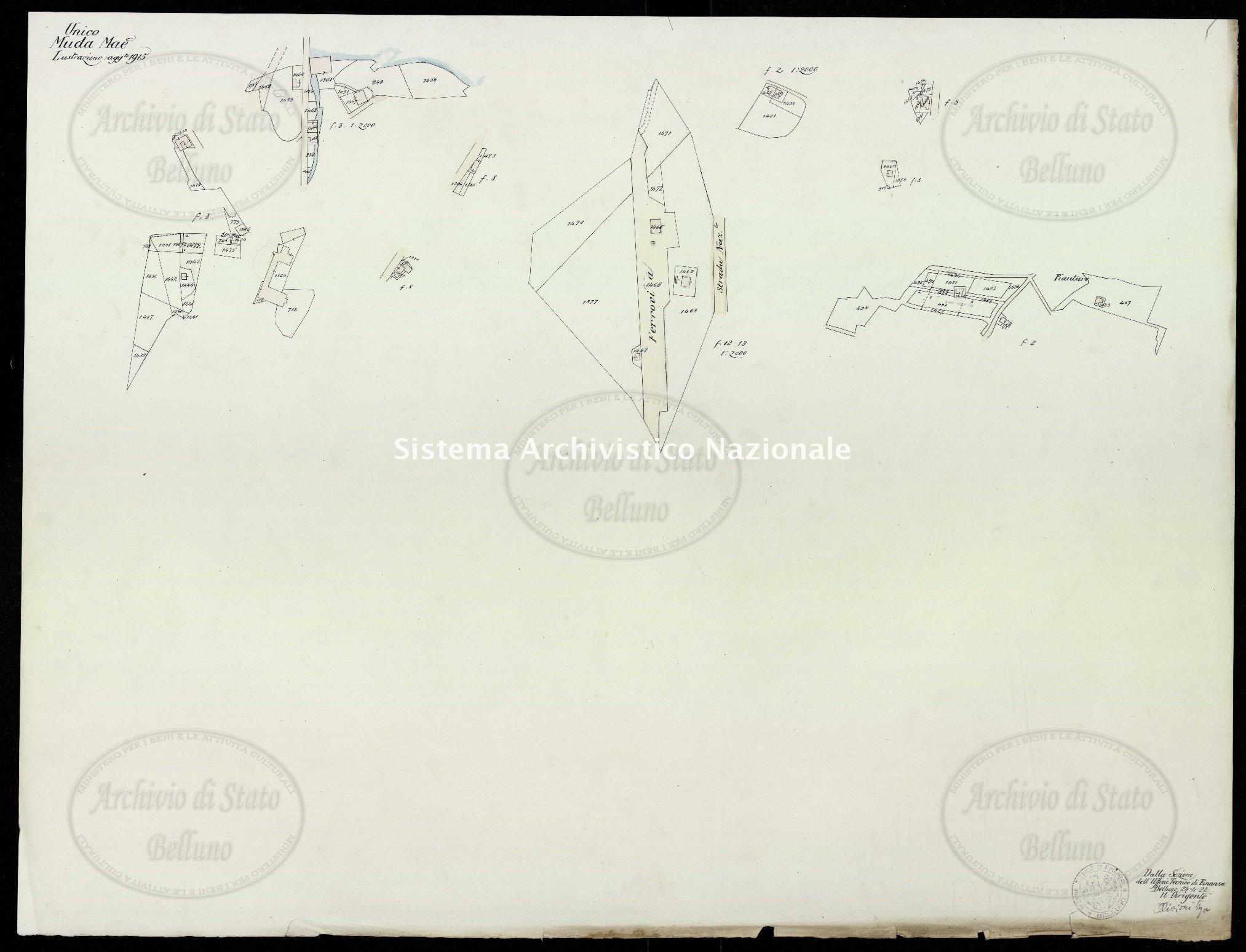 Archivio di Stato di Belluno, Censo stabile attivato, Mappe, Mappe I conservazione, Comune Censuario 083 Muda Maè