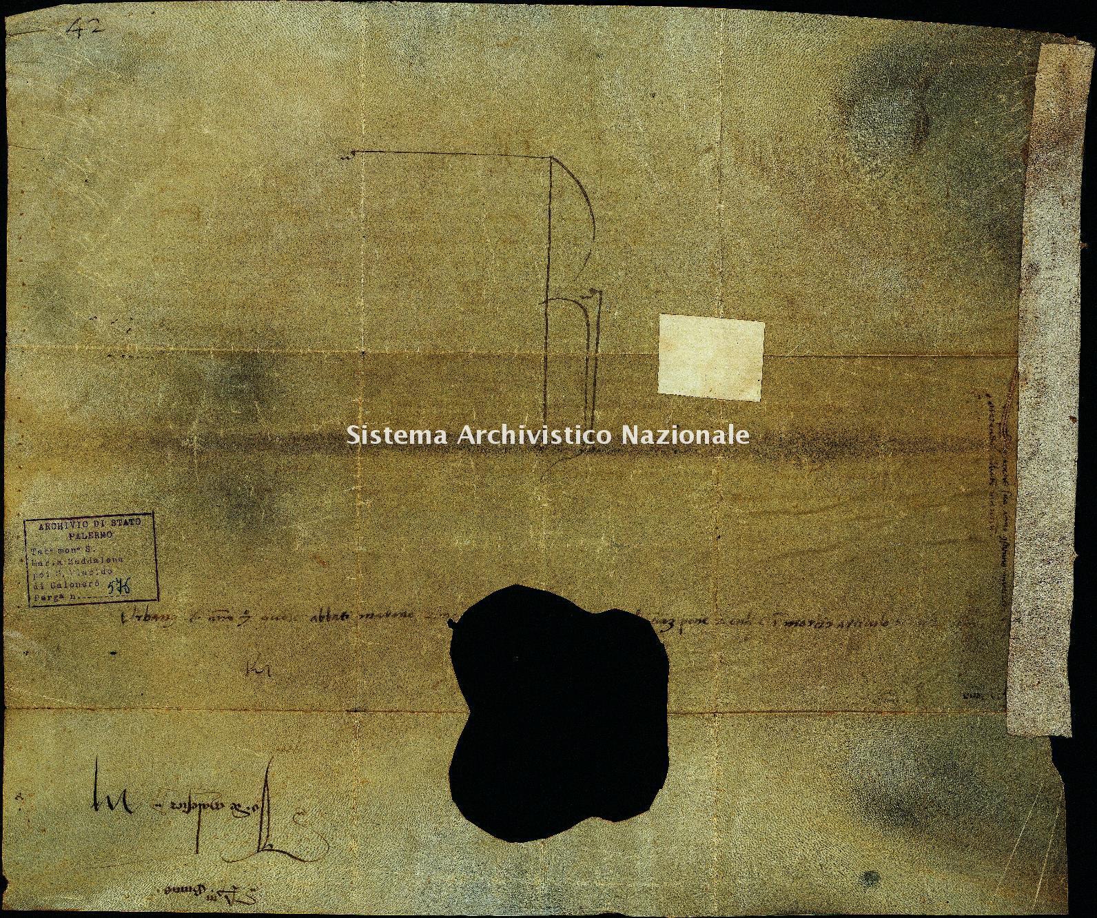 Archivio di Stato di Palermo, Diplomatico, Tabulario dei monasteri di Santa Maria Maddalena di Valle Giosafat e di San Placido di Calonerò, Pergamena TSMG 0576