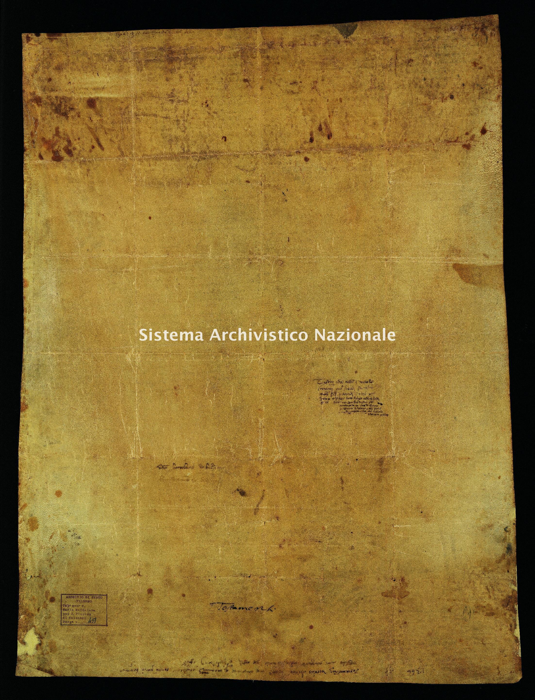 Archivio di Stato di Palermo, Diplomatico, Tabulario dei monasteri di Santa Maria Maddalena di Valle Giosafat e di San Placido di Calonerò, Pergamena TSMG 0451