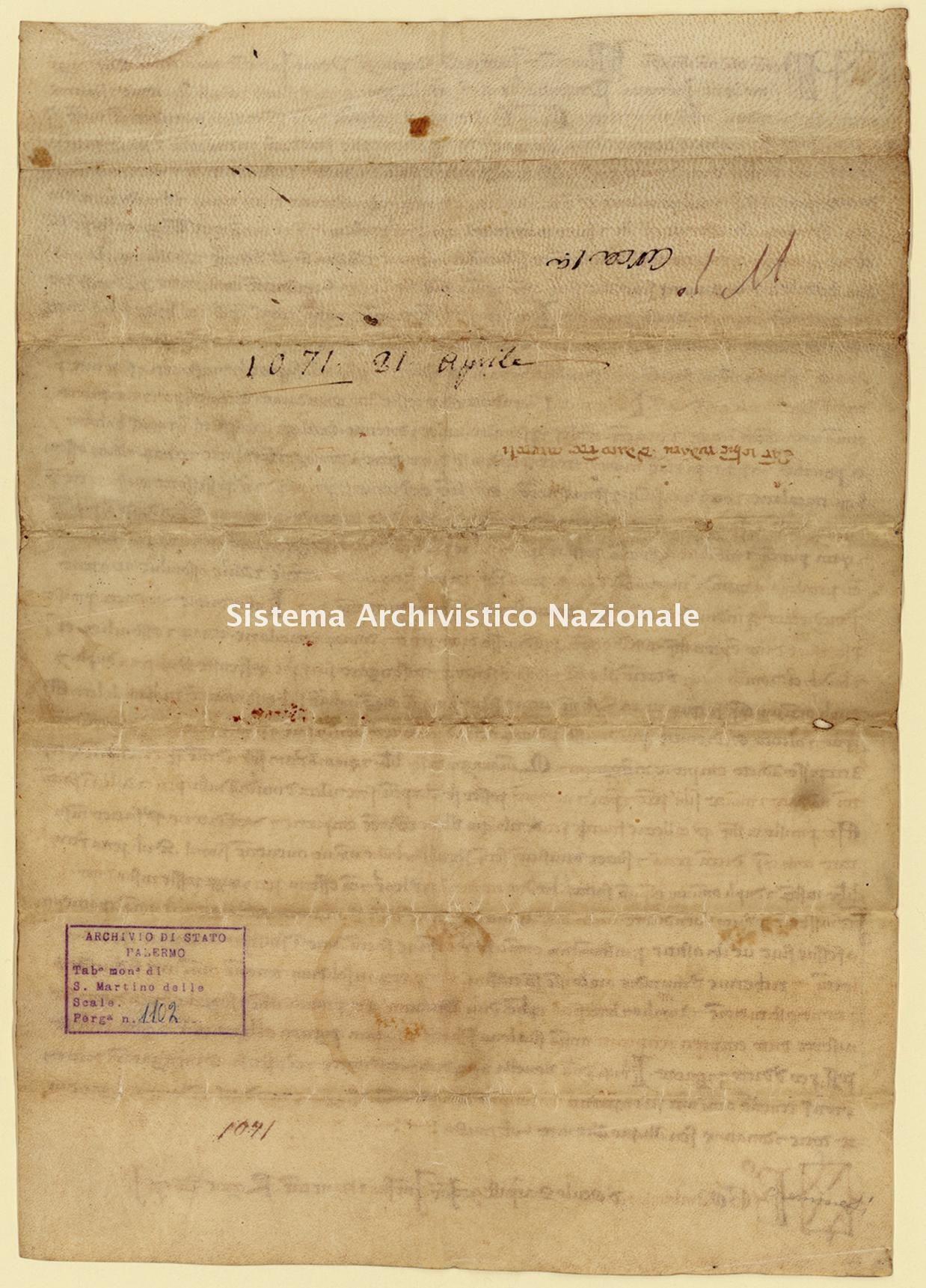 Archivio di Stato di Palermo, Diplomatico, Tabulario del monastero di San Martino delle Scale, Pergamena TSMS 1102