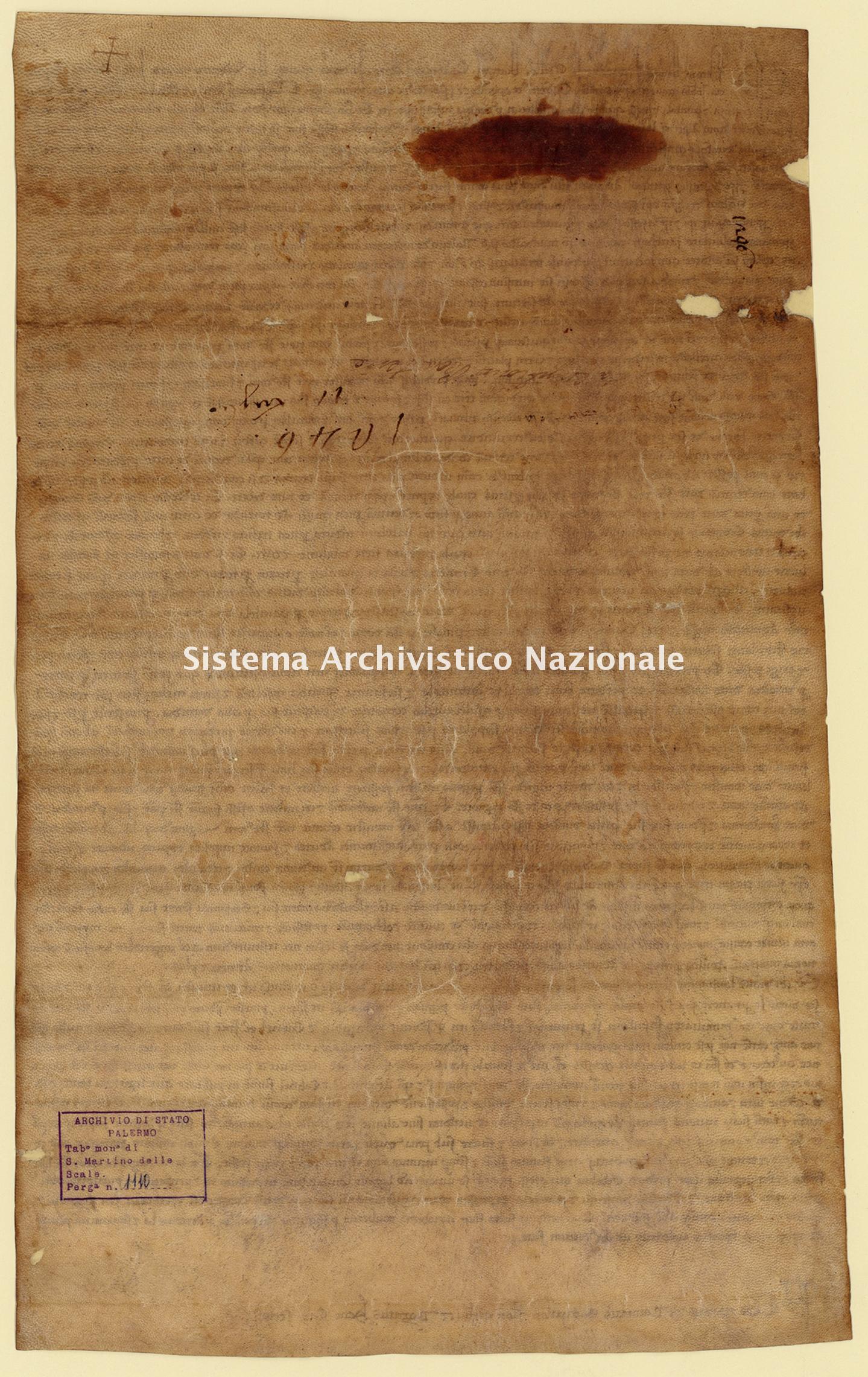 Archivio di Stato di Palermo, Diplomatico, Tabulario del monastero di San Martino delle Scale, Pergamena TSMS 1110