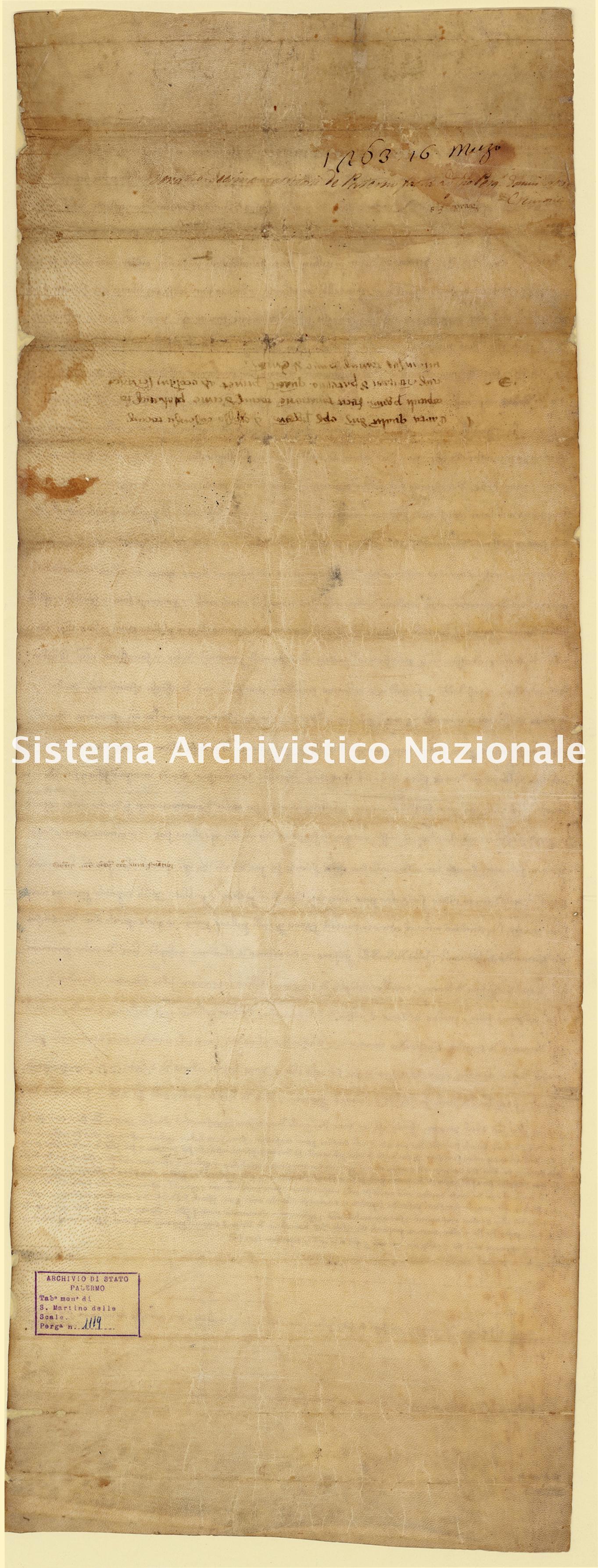 Archivio di Stato di Palermo, Diplomatico, Tabulario del monastero di San Martino delle Scale, Pergamena TSMS 1119