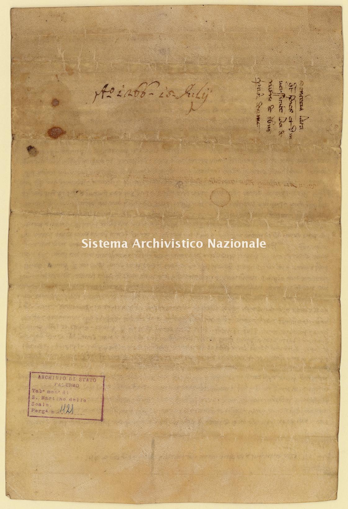 Archivio di Stato di Palermo, Diplomatico, Tabulario del monastero di San Martino delle Scale, Pergamena TSMS 1121