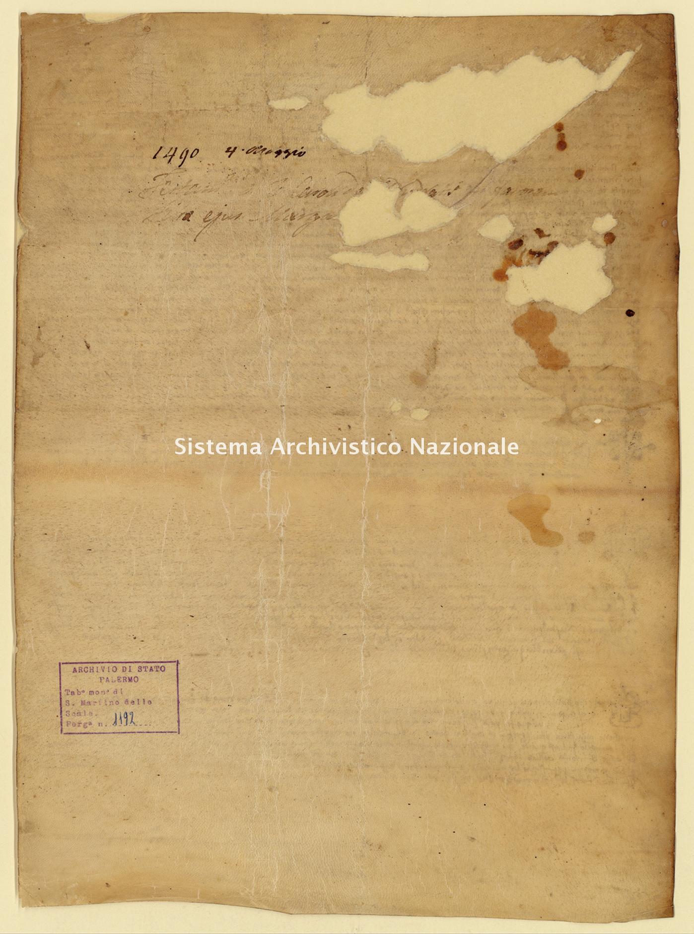 Archivio di Stato di Palermo, Diplomatico, Tabulario del monastero di San Martino delle Scale, Pergamena TSMS 1192